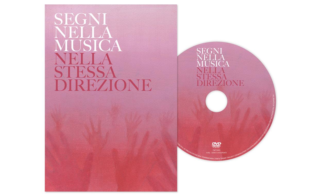 """Studio Goina, grafica, fotografia, formazione. Copertina del DVD """"Segni nella musica. Nella stessa direzione""""."""
