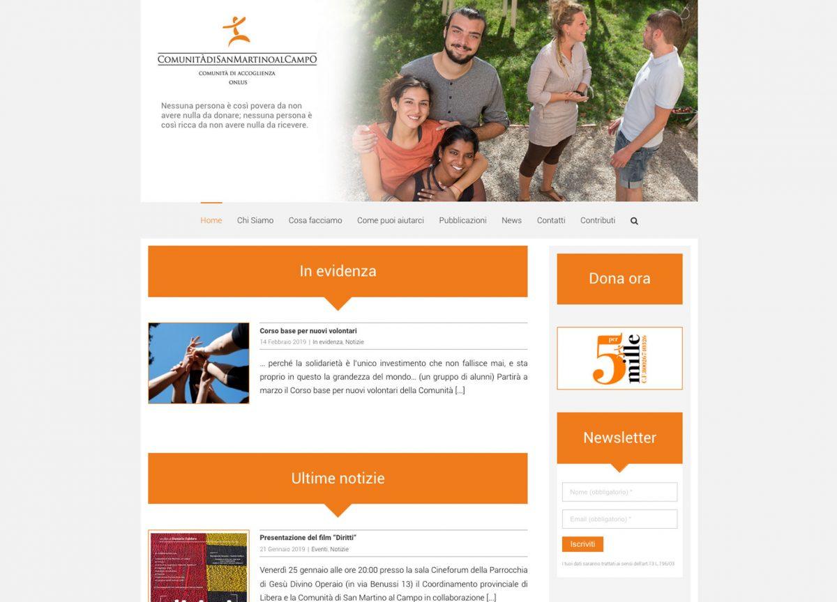 Studio Goina, grafica, fotografia, formazione. Realizzazione del sito per la Comunità di San Martino al Campo di Don Mario Vatta. Grafica di Massimo Goina, 2018